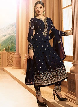 Drashti Dhami Navy Blue Straight Pant Suit