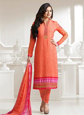Drashti Dhami Orange Crepe Straight Suit