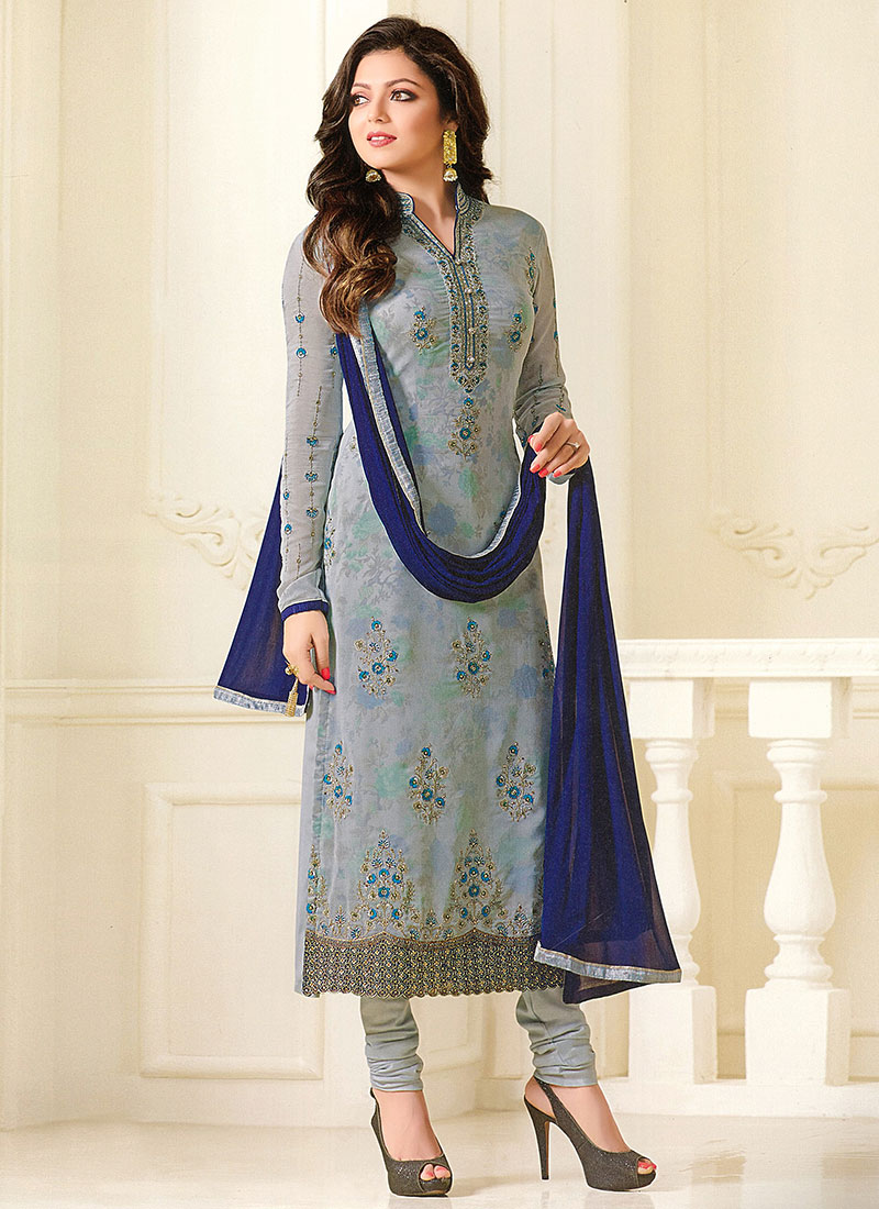 73023c36856 Buy Drashti Dhami Pale Blue Embroidered Straight Suit