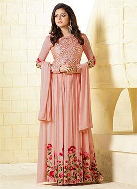 Drashti Dhami Peach Anarkali Suit