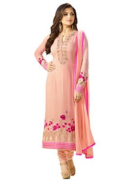Drashti Dhami Peach Churidar Suit