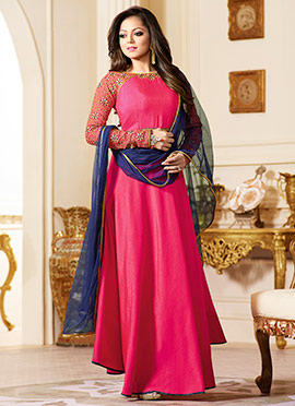 Drashti Dhami Pink Abaya Style Anarkali Suit