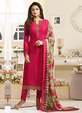 Drashti Dhami Pink Crepe Churidar Suit