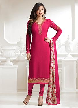 Drashti Dhami Pink Crepe Straight Suit