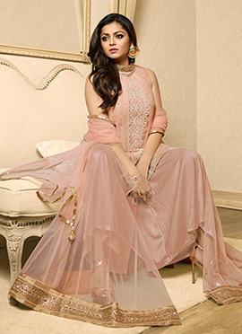 Drashti Dhami Pink Layered Palazzo Suit