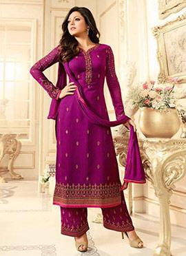 Drashti Dhami Purple Georgette Palazzo Suit