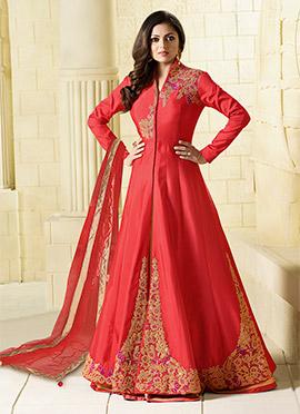 Drashti Dhami Red Art Silk Anarkali Lehenga Choli