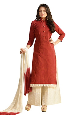 Drashti Dhami Rust Cotton Palazzo Suit