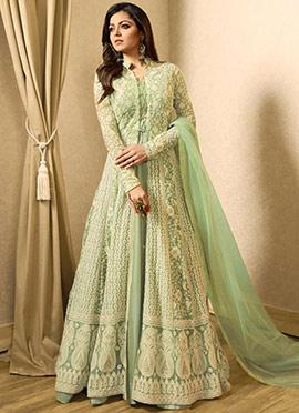 Drashti Dhami Sage Green Abaya Style Anarkali Suit