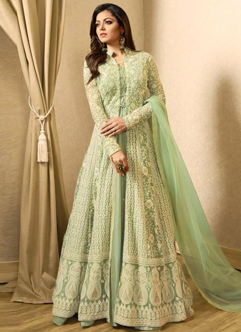 Buy Drashti Dhami Dark Green Abaya Style Anarkali Suit