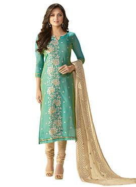 Drashti Dhami Teal Green Churidar Suit