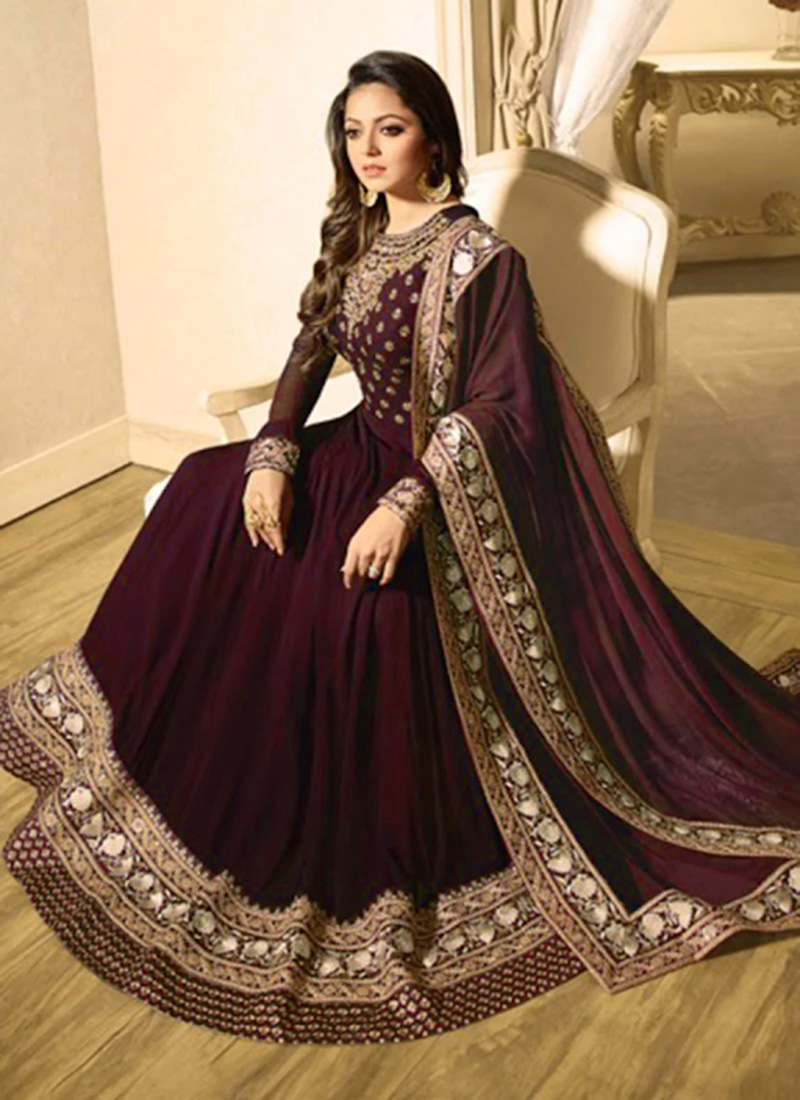 a19e0b4b88 Buy Drashti Dhami Wine Abaya Style Anarkali Suit, Embroidered ...