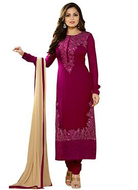 Drashti Dhami Wine Churidar Suit