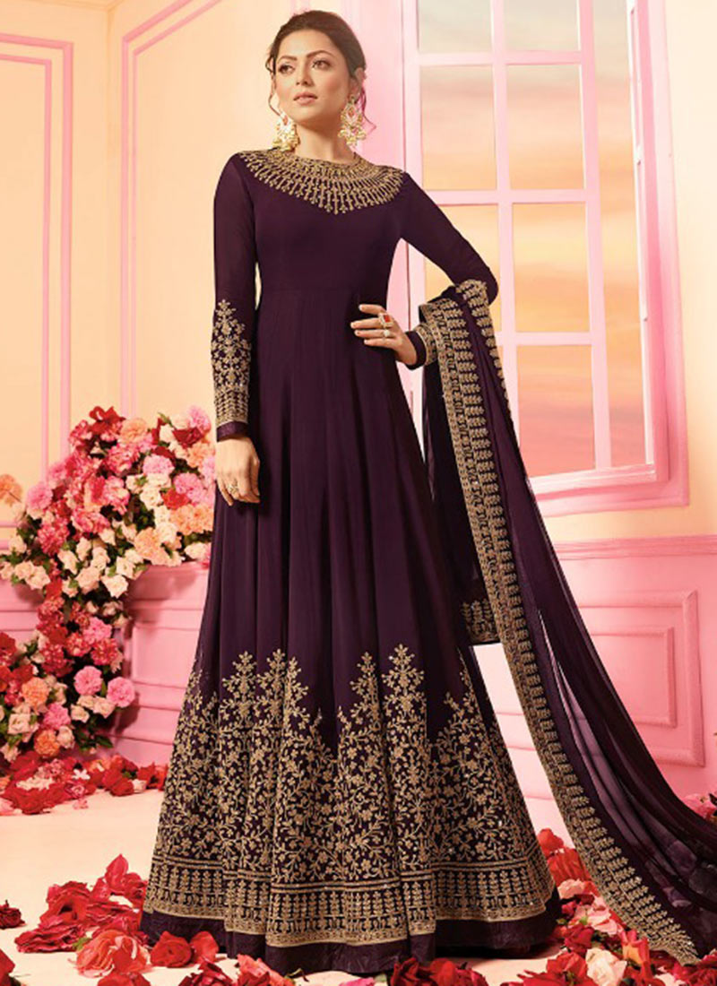 b4260d068b Buy Drashti Dhami Wine Embroidered Anarkali Suit, Embroidered ...