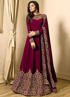 Drashti Dhami Wine Embroidered Anarkali Suit