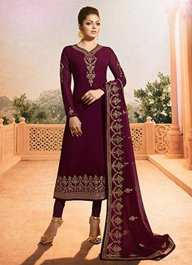 Drashti Dhami Wine Embroidered Churidar Suit
