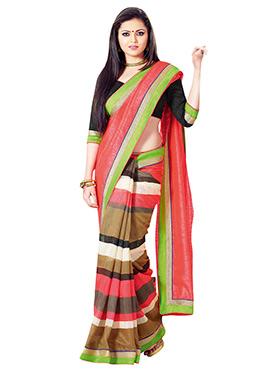 Drasthi Dhami Striped Half N Half Saree