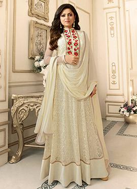 Drasti Dhami Cream Art Silk Net Anarkali Suit