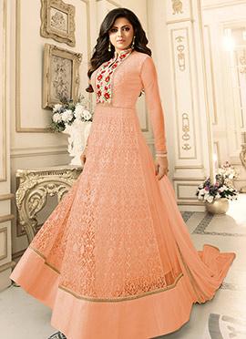 Drasti Dhami Peach Art Silk Net Anarkali Suit