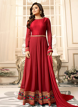 Drasti Dhami Red Georgette Anarkali Suit