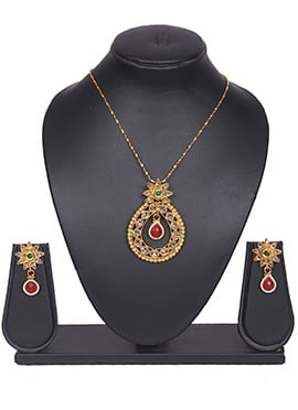 Drop Polki Stones Tradisiya Necklace Set