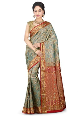 Dual Tone Kancheepuram Pure Silk Saree