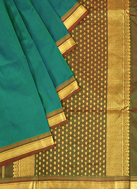 Dual Toned Blue N Green Pure Silk Pothys Saree