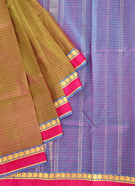 Dual Toned Green N Purple Pure Silk Pothys Saree