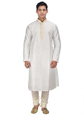 Dupion Silk White Kurta Pyjama
