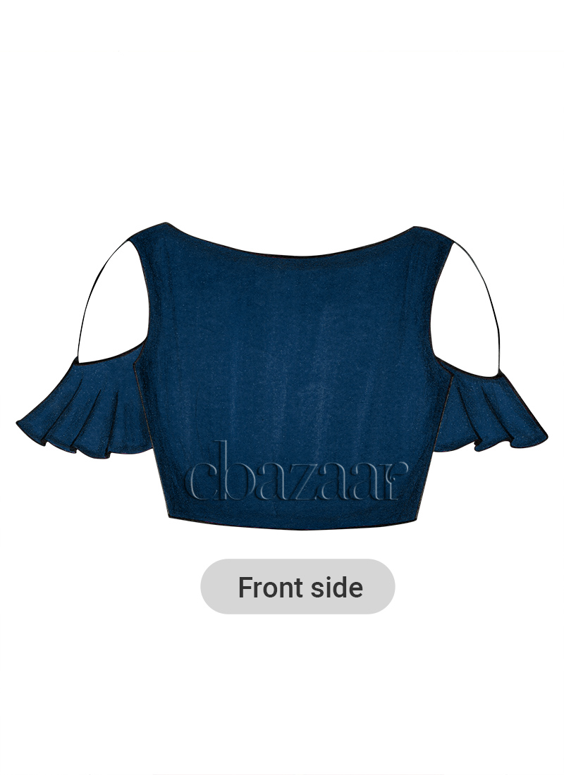Dusky Blue Flared Sleeve Blouse