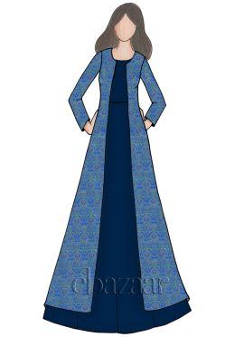 Dusky Blue Opal Soft Silk Gown