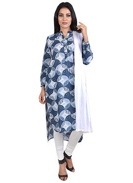 Dusty Blue Cotton Churidhar Suit