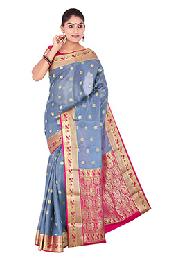 Dusty Blue N Pink Pure Crepe Silk Saree