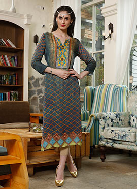 Dusty Blue Satin Blend Kurti