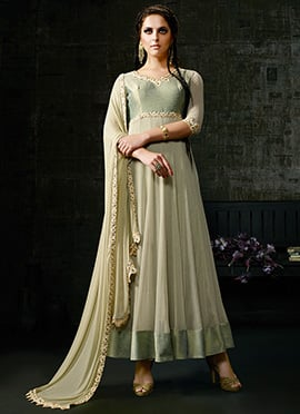 Dusty Green Ankle Length Anarkali Suit