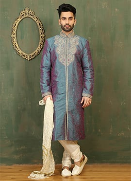 Dusty Teal N Purple Dual Tone Art Silk Kurta Pyjama