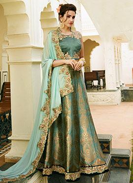 Duty Turquoise Benarasi Silk Umbrella Lehenga