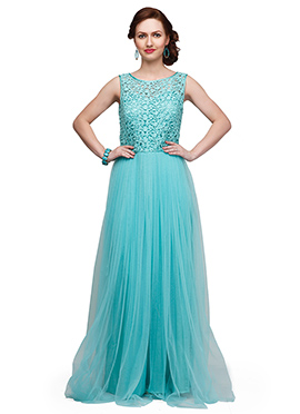 Eavan Aqua Blue Lace N Net Flared Gown