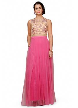 Eavan Beige N Pink Net Anarkali Gown