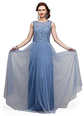 Eavan Light Denim Blue Lace N Net Flared Gown