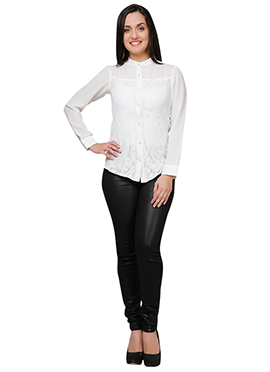 Eavan White Blended Cotton N Lace Top