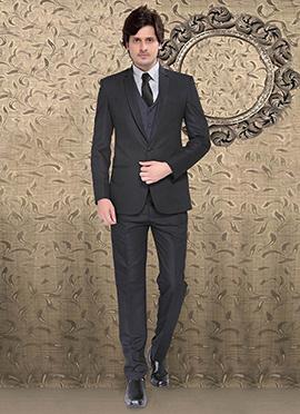 Elegant Grey Terry Rayon Suit