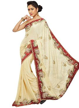 Embellished Cream Jacquard Saree