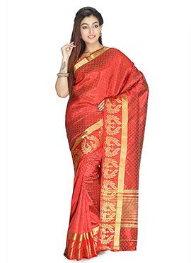 Emberglow Red Art Silk Saree