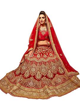 Embroidered Beige N Red A Line Lehenga Choli
