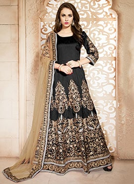 Embroidered Black Art Silk Floor Length Anarkali S