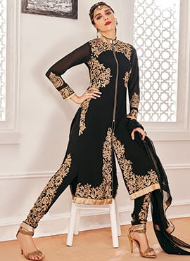 Embroidered Black Georgette Straight Pant Suit