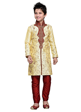 Embroidered Cream Art Silk Boys Kurta Pyjama