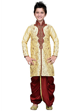 Embroidered Deep Cream Art Silk Boys Dhoti Kurta