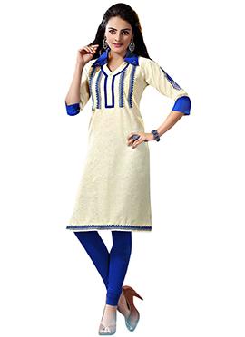 Embroidered Khadi Cotton Cream Kurti